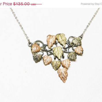 Black Hills Gold Leaf Pendant and Silvertone Chain - Three Shades Metal Leaves - Vintage Jewelry