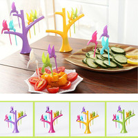 6pcs Multifunctional Tree Shape Forks Holder Flying-Bird Forkes Home Decor 4 Color For Fruits, Snacks Kitchen Forks