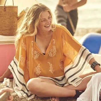 DKLW8 New Beach Cover Ups coat is not positioning clipping design chiffon loose smock dresses beach holiday
