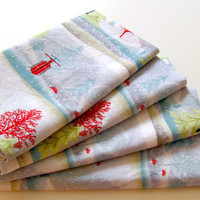 Cloth Napkins - Set of 4 - Christmas, Winter, Sleighs, Sleds, Trees, Toadstools, Red, Blue, Green, Silver - Everyday, Dinner, Table