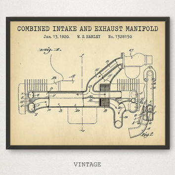 Motorcycle Wall Art, Combined Intake and Exhaust Manifold Patent Prints, Motorcycle Parts Poster, Engine Blueprint Art, Man Cave Decor, Gift