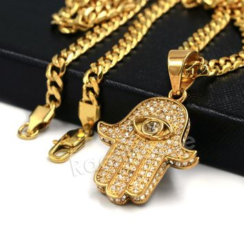 316L Stainless Steel Hands of Hamsa Ice Out Pendant w/ 4mm Miami Cuban Chain