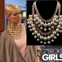Fashion 2 broke girls big pearl Multilayer beads Chunky statement collar chain Necklaces & Pendants women imitation pearl 2014