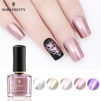 BORN PRETTY Metallic Nail Polish 6ml Mirror Effect Varnish Pink Silver Gold Metal Nail Polish Manicure Nail Art Lacquer