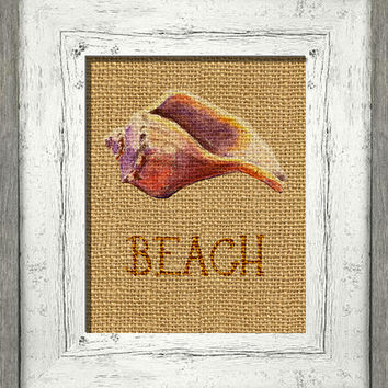 Printable digital art, conch shell, distressed burlap, beach cottage art, instant download, shabby cottage wall decor, digital painting