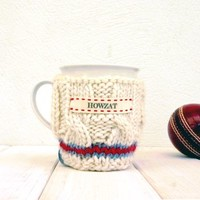 Personalised Knitted Cricket Jumper Mug Cosy