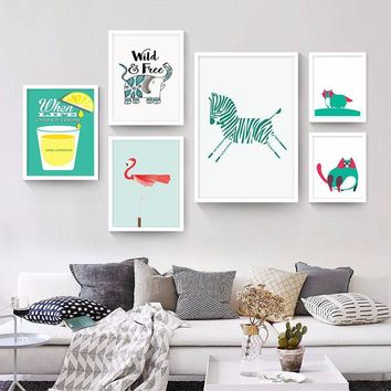 Nordic modern fresh horse flamingo lemon prints on canvas painting cartoon wall pictures for children room wall art home decor