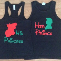 Free/Fast Shipping for US Christmas  Eric and Ariel Little Mermaid Prince and Princess Tank Tops