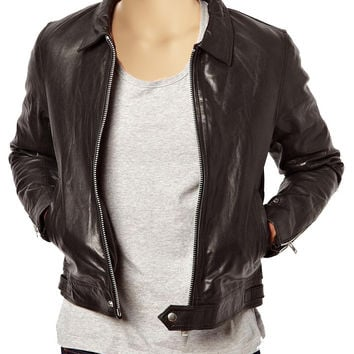 Plain brown leather jacket with collar