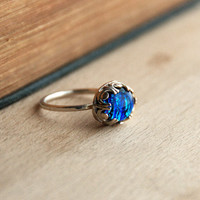 Fused Dichroic Sterling Silver Glass Ring  - Fused Glass Cabochon, Fancy Bezel Set