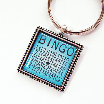 Bingo keychain, Key chain, keychain, key ring, Bingo key ring, keyring, stocking stuffer, blue, bingo lover, bingo card key ring (4379)