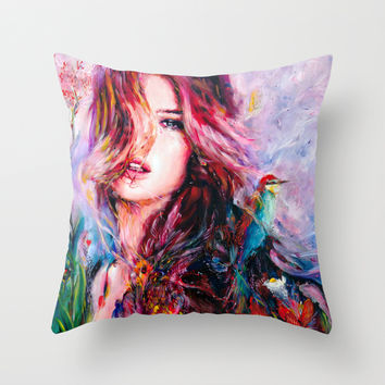 Violet Throw Pillow by Charmaine Olivia