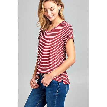 Ladies fashion classic dolman short sleeve v-neck stripe rayon spandex top