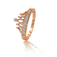 18K Rose Gold/Silver Plated Crystal Princess Crown Ring Love Gift Girlfriend Quality 2 Colors