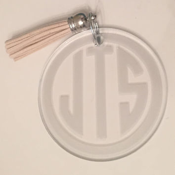 Monogrammed Key Chain Fob with Tassel