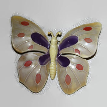 1970s Enamel Butterfly Brooch signed - made in West Germany
