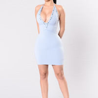 Taking The Plunge Dress - Light Blue