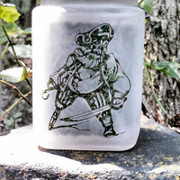Collectible Pirate Etched Glass Stash Jar & Herb Storage Container -  Food Grade, Air Tight - Novelty Gift for Smokers