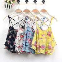 Womens Retro Cut Cross Chiffon Floral Tank Top Gift 30