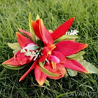 Orchid Burst Red Hawaiian Flower Hair Clip