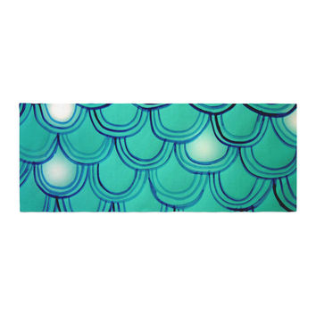 "Theresa Giolzetti ""Mermaid Tail"" Teal Blue Bed Runner"