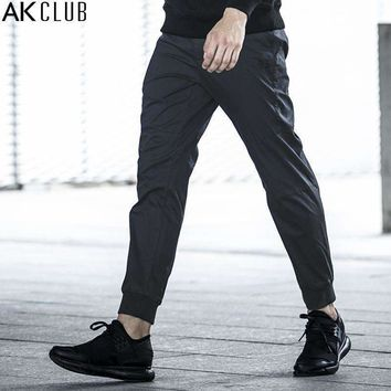 AK CLUB Brand Men Pants Ankle Length Jogger Pants Cotton Twill Trousers Rib Ankle Tied Knee Patchwork Men Casual Pants 1712051