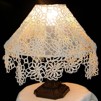 Lamp Shade  Big  white crochet with integrate fringes by Mintook