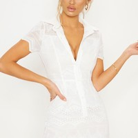 White Embroidered Lace Button Detail Skater Dress
