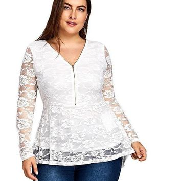 Plus Size Lace Hem Peplum Front Zipper White Sheer Mesh Long Top