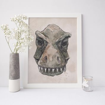 T-Rex Dinosaur Head Painting Art Print