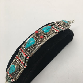 Vintage Nepalese Red Coral & Green turquoise Inlay Statement Bib Bracelet, NPB50