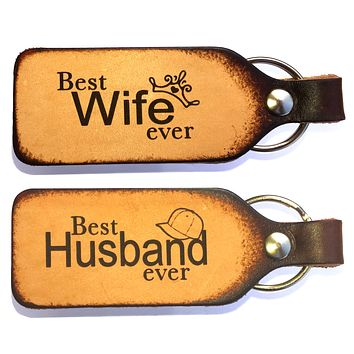 Best Wife Ever Best Husband Ever Couples Leather Keychains