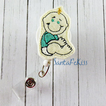 Pediatric Nurse ID Badge - Embroidered Felt Badge Reel - Retractable ID Badge Holder for Nurse - Fun Badge Reel, Nurse Lanyard ID Badge