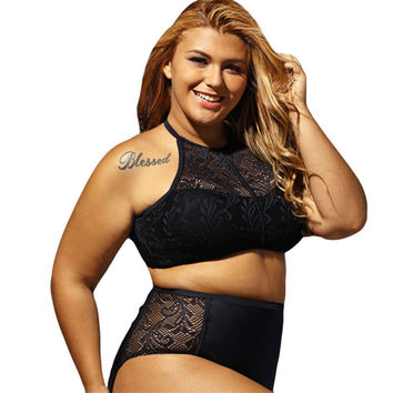 Plus Size 2XL 3XL 4XL Swimwear Women 2017 New High Waist Swimsuit Blak Lace Vintage Retro Fat Bathing Suit Push Up Bikini Set