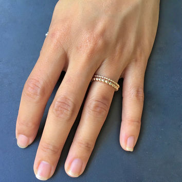 Free Shipping, 1.6 mm Thin Gold ring, Beaded Gold Ring, Stackable Ring, Gold stacking rings, Gold Filled Ring, Dotted Gold Ring, Gold Ring