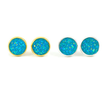 Druzy Earrings, Druzy Studs, Faux Druzy Earrings, Gold, Silver, Teal, Blue, Druzy Earrings, Glitter, Sparkle, Boho, Post Earrings, Holiday