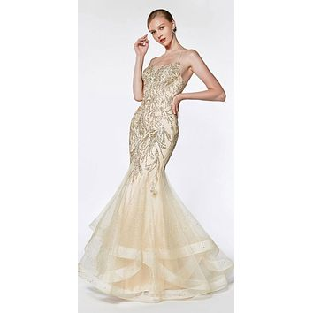Fitted Embellished Mermaid Gown Champagne Horsehair Trim Criss Cross Back