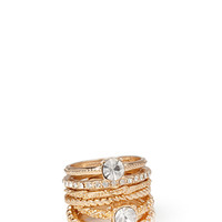 FOREVER 21 Glam Rhinestone Ring Set Gold/Clear
