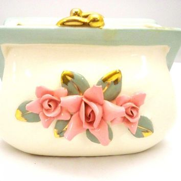 "Vintage ""Open Purse"" Vase w/ Applied Roses Napco Japan"