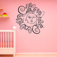 Wall Decals Vinyl Sticker Sun Moon Crescent Dual Ethnic Symbol Sunshine Stars Night Art Home Decor Bedroom Dorm C055