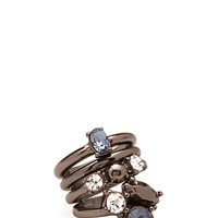 FOREVER 21 Faux Stone Ring Set Blue/Gunmetal