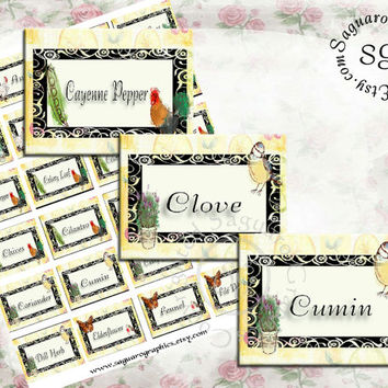 ON the FARM Spice Labels sg356 - 2x1.5 inch - Digital Collage Sheet - Arts & Crafts - Chicken, Rooster, Corn, Tomatos