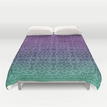 Pixel Patterns Green/Purple Duvet Cover by Likelikes