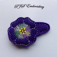Purple Felt Flower With Purple Green and Yellow Verirgated Thread Snap Clip Barrette