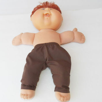 Cabbage patch 14 inch doll clothes or 15 inch Bitty Baby, HANDMADE, Brown pants