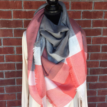 Cool Days Gray & Coral Blanket Scarf