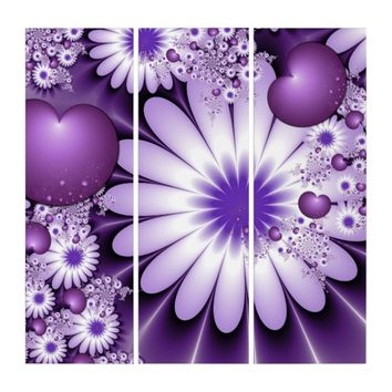 Falling in Love Abstract Flowers & Hearts Fractal Triptych