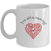 Gift for Him/Her   You Are A-Maze-Ing! White Mug   Red Heart Maze   Gift for Mom   Gift for Daughter