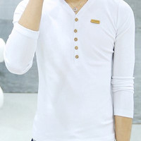 White V-Neck Button Design Long Sleeves T-shirt