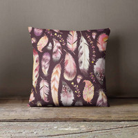 Feathers Pattern Pillowcase | Decorative Throw Pillow Cover | Cushion Case | Designer Pillow Case | Birthday Gift Idea For Him & Her